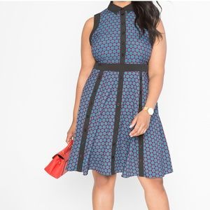 Eloquii Sleeveless JewelTone Geometric Print Dress